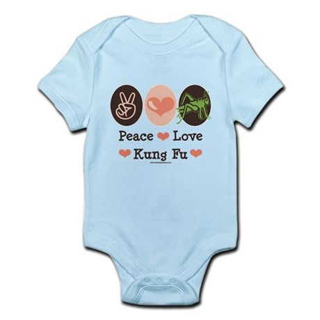 Peace Love Grasshopper Kung Fu Infant Bodysuit