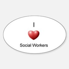 I Heart Social Workers Oval Decal
