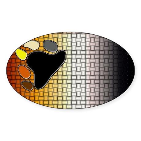 BEAR PRIDE flag/WOVEN LOOK Oval Sticker