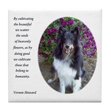 Sheltie in the flower garden Tile Coaster