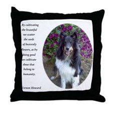 Sheltie in the flower garden Throw Pillow
