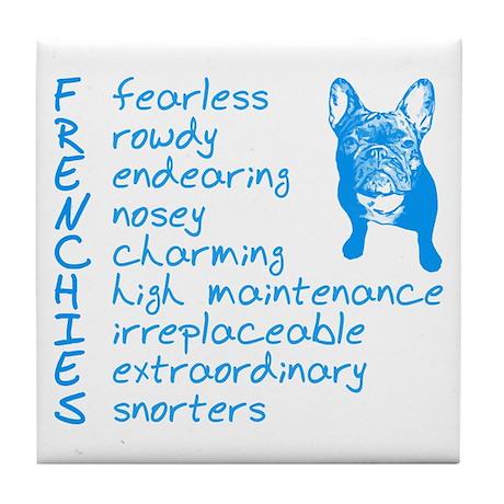 F R E N C H I E S blue Tile Coaster