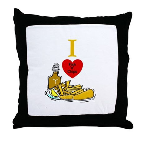 Fish N Chips Throw Pillow