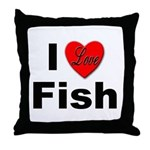 I Love Fish for Fish Lovers Throw Pillow
