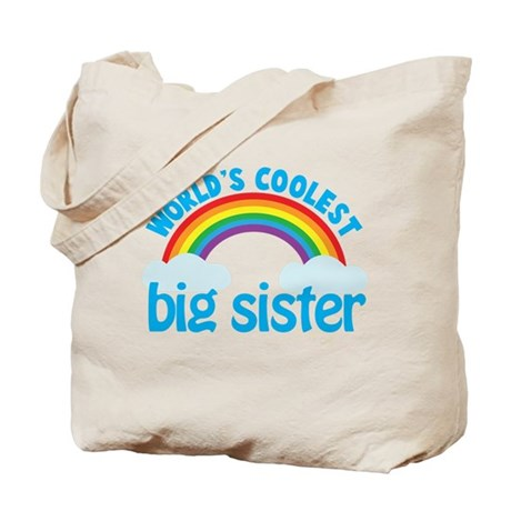 world's coolest big sister rainbow Tote Bag