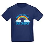 world's coolest big sister rainbow Kids Dark T-Shi