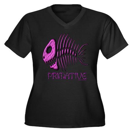 PRIMATIVE Women's Plus Size V-Neck Dark T-Shirt