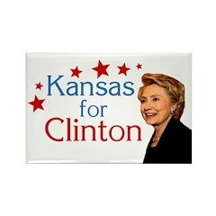 Kansas for Clinton Rectangle Magnet