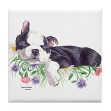 Boston Terrier Puppy Tile Coaster