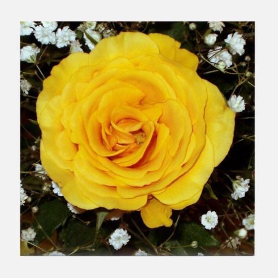 Tile Coaster - Yellow Rose