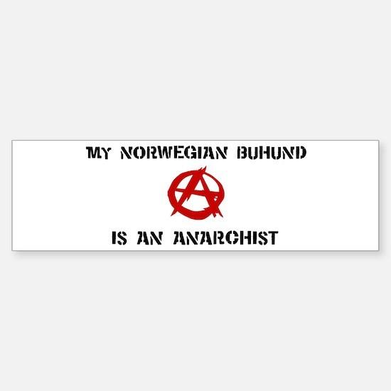 Norwegian Buhund anarchist Bumper Bumper Bumper Sticker