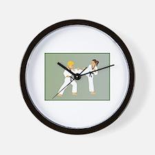 Cool Taekwondo kick like a girl Wall Clock