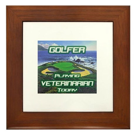 """Golfer Playing Veterinarian Today"" Framed Tile"