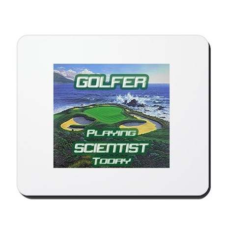 """""""Golfer Playing Scientist Today"""" Mousepad"""