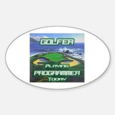 """Golfer Playing Programmer Today"" Oval Decal"