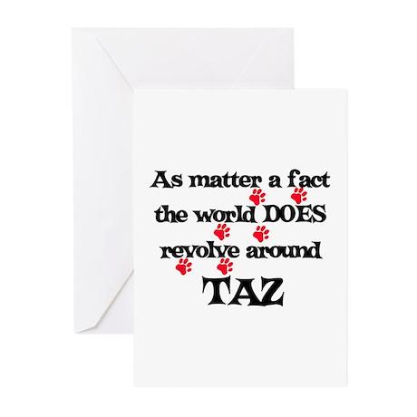 The World Revolves Around Taz Greeting Cards (Pk o