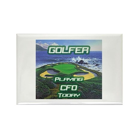 """Golfer Playing CFO Today"" Rectangle Magnet"
