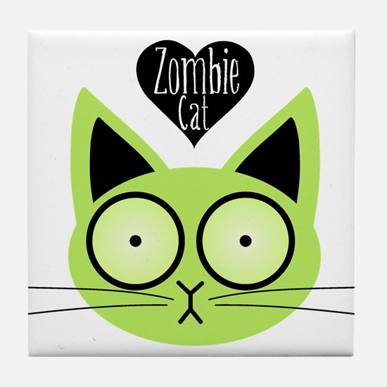 Zombie Cat Tile Coaster