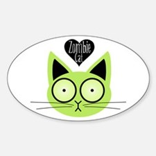 Zombie Cat Oval Decal