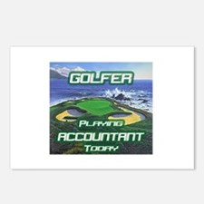 """""""Golfer Playing Accountant Today"""" Postcards (Packa"""