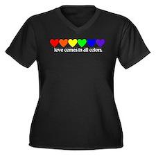 Love Rainbow Women's Plus Size V-Neck Dark T-Shirt