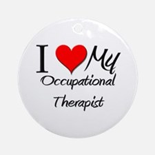 I Heart My Occupational Therapist Ornament (Round)