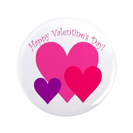 "Valentine's Day Hearts Trio 3.5"" Button (100 pack)"