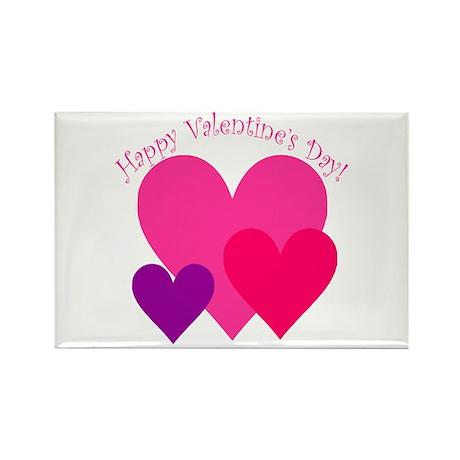 Valentine's Day Hearts Trio Rectangle Magnet (100