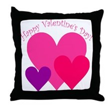 Valentine's Day Hearts Trio Throw Pillow