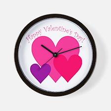 Valentine's Day Hearts Trio Wall Clock