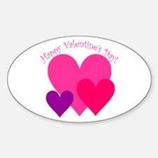 Valentine's Day Hearts Trio Oval Decal
