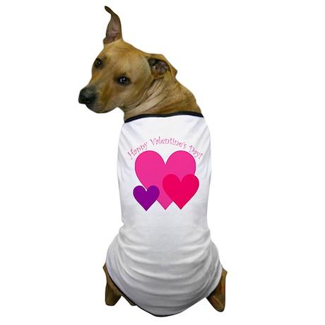 Valentine's Day Hearts Trio Dog T-Shirt