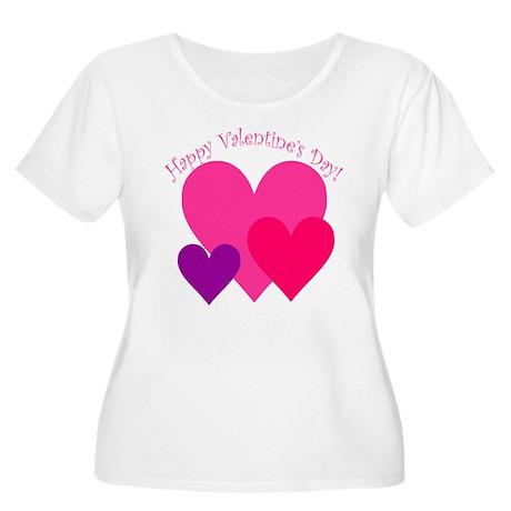 Valentine's Day Hearts Trio Women's Plus Size Scoo