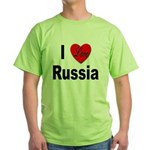 I Love Russia (Front) Green T-Shirt