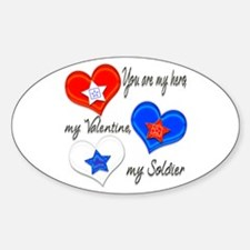 3 Hearts Soldier Oval Decal