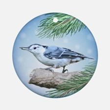 Nuthatch On Tree Ornament (Round)