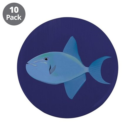 """Blue Trigger Fish 3.5"""" Button (10 pack)"""