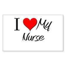 I Heart My Nurse Rectangle Decal