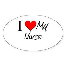 I Heart My Nurse Oval Decal