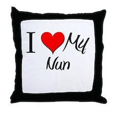 I Heart My Nun Throw Pillow