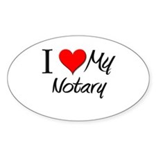 I Heart My Notary Oval Decal