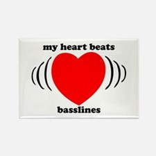 My Heart Beats Basslines Rectangle Magnet