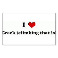 I Love Crack (climbing that i Sticker (Rectangular