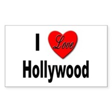 I Love Hollywood Rectangle Decal