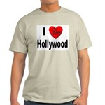I Love Hollywood (Front) Ash Grey T-Shirt