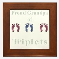 proud grandpa of triplets 2 g Framed Tile