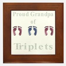 proud grandpa of triplets 2 g Framed Tile