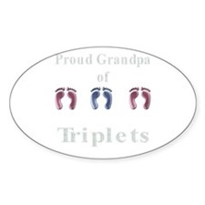 proud grandpa of triplets 2 g Oval Decal