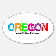 Colorful Oregon Oval Decal
