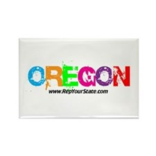 Colorful Oregon Rectangle Magnet